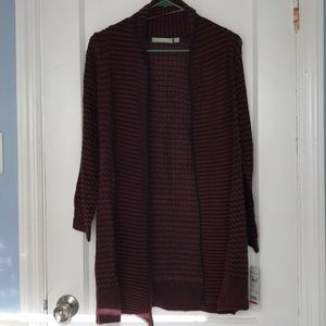 NY Collection long maroon and black cardigan